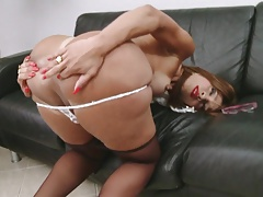 Transsecretary with humungous cock in stockings