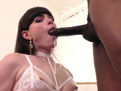 Natalie Mars deepthroating and gets barebacked by big black cock