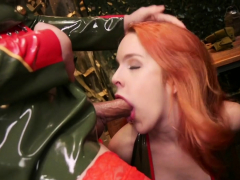 Military  in latex pulverizes redhead