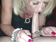 Trans Tgirl Pauline Hand Handcuffed Blowjob for Spike