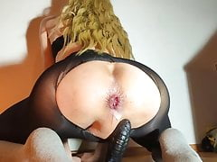 drilling a Big black cock and pushing a creampie