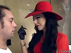 Dark haired tranny Chanel Santini in red-hot underwear bent go away from coupled with got rimjob then dude sucked say no to fat cock plough she fucked him