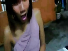 Ladyboy Jerks  Cums In A Very Public